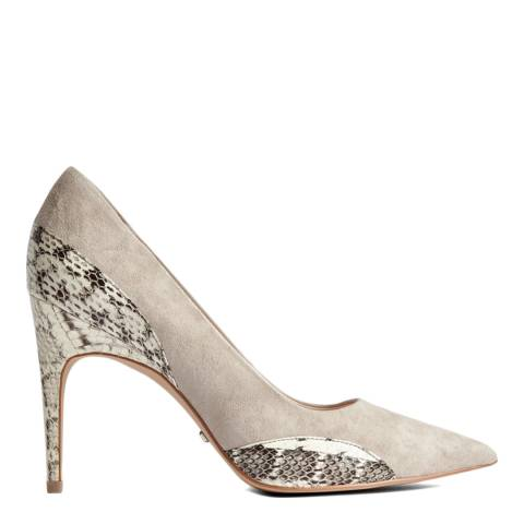 Reiss Natural Mia Snake Detail Suede Court Shoes