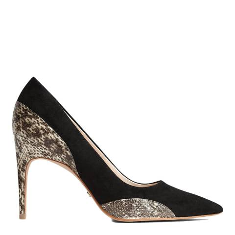 Reiss Black Mia Snake Detail Suede Court Shoes
