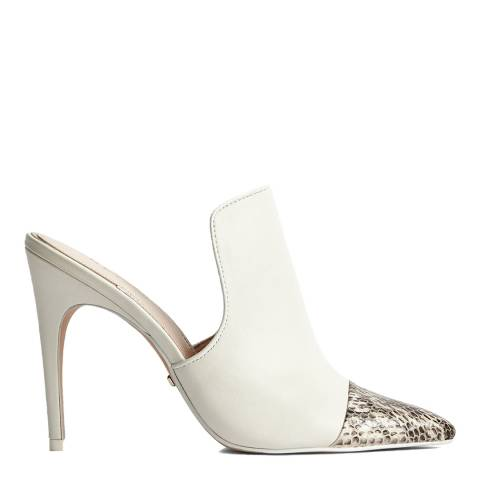 Reiss White Spark Snake Print Leather Heeled Mules