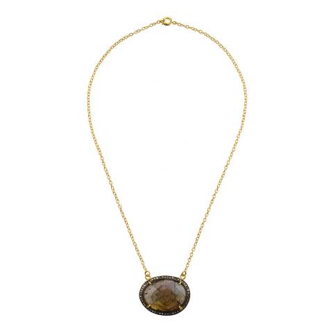 Liv Oliver 18K Gold Plated Plated Labradorite & Multi Diamond Oval Pendant Necklace