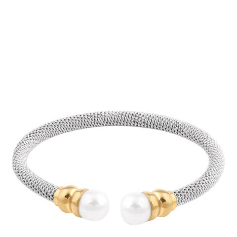 Liv Oliver 18K Gold & Silver Two Tone Pearl Cuff Bangle