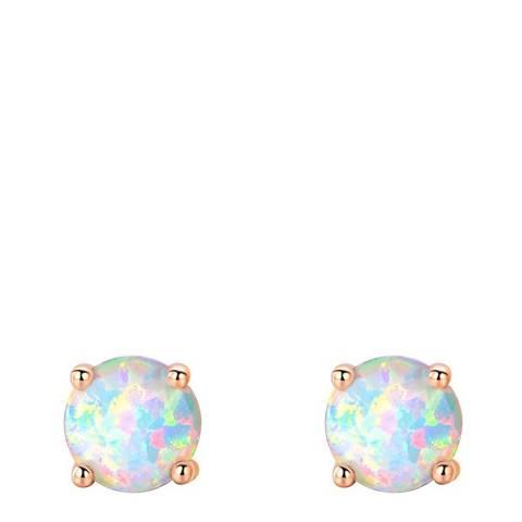 Liv Oliver 18K Rose Gold Plated White Opal Stud Earrings