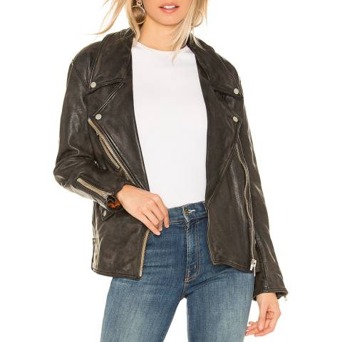 Free People Black Leather Moto Jacket