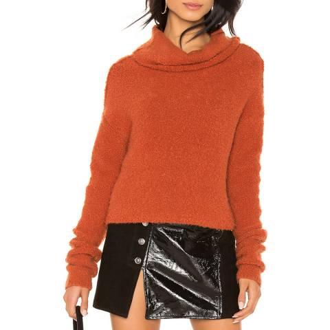 Free People Terracotta Wool Blend Roll Neck Jumper