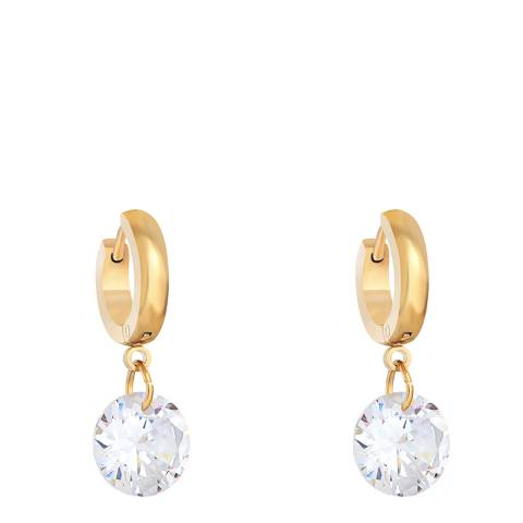 Liv Oliver 18K Gold CZ Drop Huggie Earrings