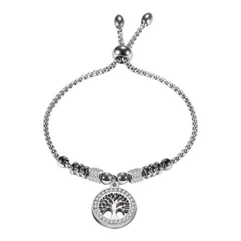 Liv Oliver Silver Plated Carved Tree Charm Embelished Bracelet