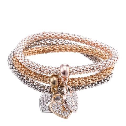 Liv Oliver 18K Tri Color Heart Embelished Bracelet Set