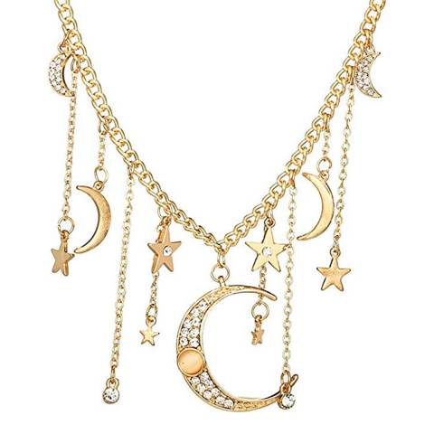 Liv Oliver 18K Gold Moon And Star Necklace