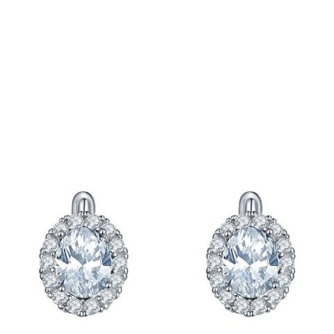 Liv Oliver Silver Plated Oval CZ Halo Earrings