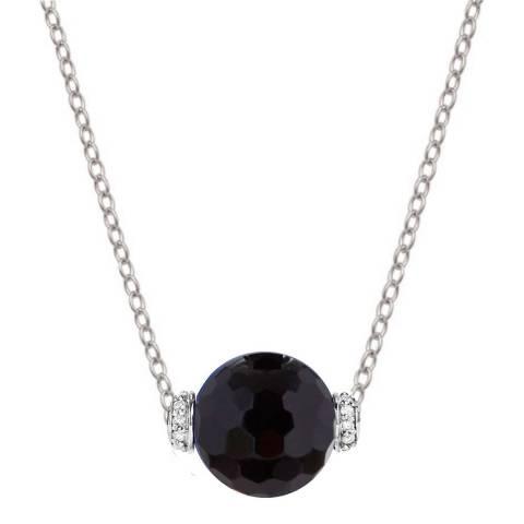 Liv Oliver Sterling Silver Onyx & CZ Necklace