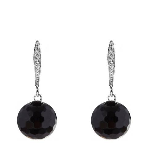 Liv Oliver Sterling Silver CZ Faceted Onyx Drop Earrings
