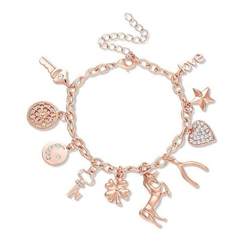 Liv Oliver 18K Rose Gold Charm Embelished Bracelet