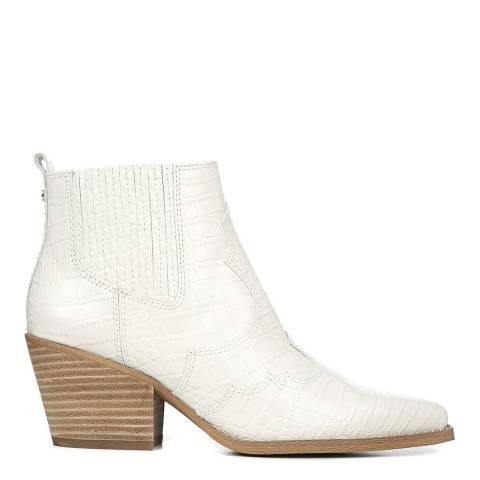 Sam Edelman White Croc Leather Winona Western Ankle Boots