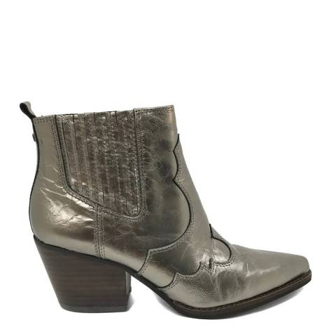 Sam Edelman Brown Metallic Leather Winona Western Ankle Boots