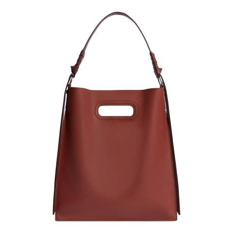 AllSaints Burgundy Voltaire Flat Hobo Bag