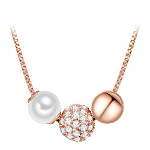 The Pacific Pearl Company Rose Gold/White Pearl and Crystal Necklace