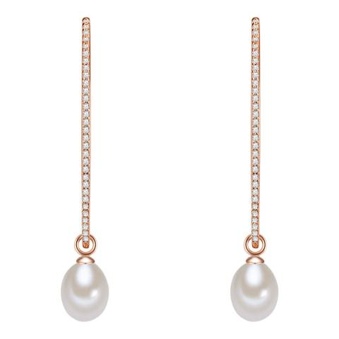The Pacific Pearl Company Rose Gold/White Freshwater Pearl and Crystal Hoop Earrings