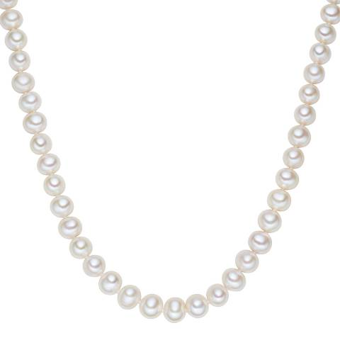 The Pacific Pearl Company White/Silver Freshwater Pearl Necklace