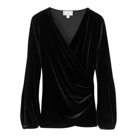 Pure Collection Black Velour Gathered Cuff Top
