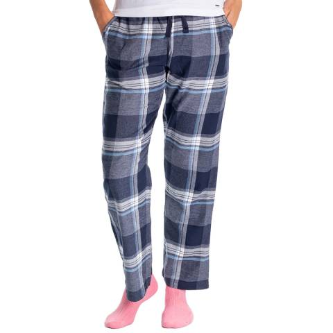 RUPERT & BUCKLEY Navy Clyde Flannel Check Lounge Pants