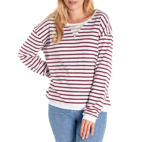 RUPERT & BUCKLEY White/Red Stripe Ruthven Loopback Jersey Crew Neck