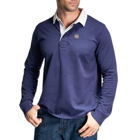 RUPERT & BUCKLEY Navy Ash Traditional Rugby Polo Sweatshirt