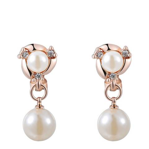 Ma Petite Amie Rose Gold Plated Double Pearl Clip Earrings