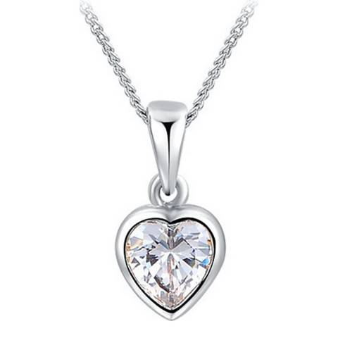 Ma Petite Amie Platinum Plated Heart Necklace