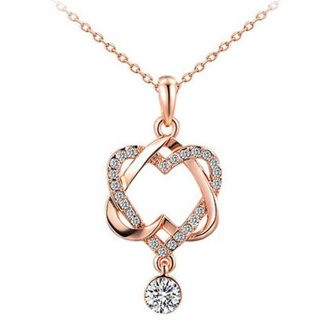 Ma Petite Amie Rose Gold Plated Double Heart Necklace