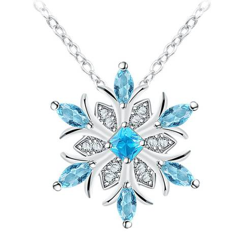 Ma Petite Amie Platinum Plated Sapphire Snowflake Necklace