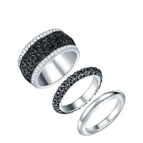 Saint Francis Crystals Silver/Black Crystal Ring Set