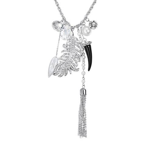Saint Francis Crystals Silver/Black Crystal Charm Necklace