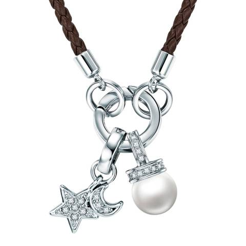 Saint Francis Crystals Silver/Brown Crystal and Pearl Star Necklace