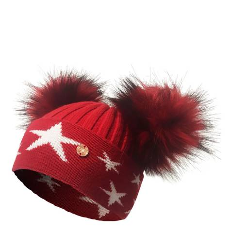 Look Like Cool Red/White Little Stars Beanie Hat