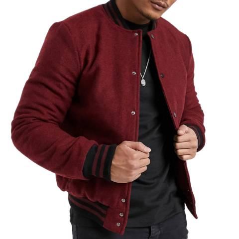 Bolongaro Trevor Red Wool Blend Bomber Jacket
