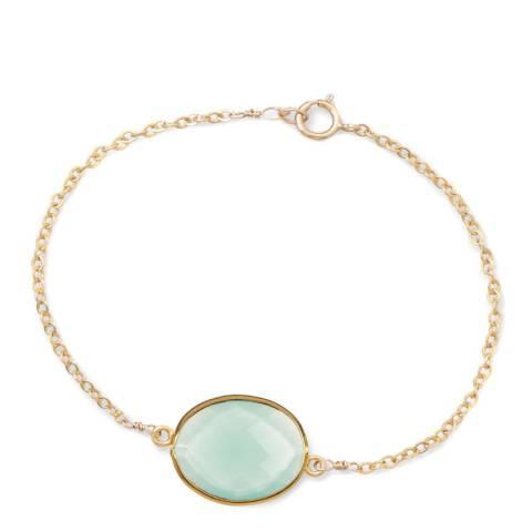 Liv Oliver 18K Gold Sea Green Chalcedony Oval Bracelet