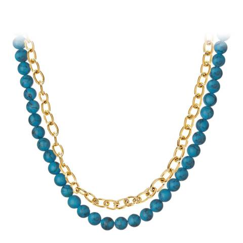 Liv Oliver 18K Gold Turquoise Double Link Necklace