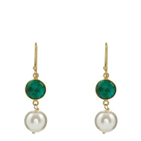 Liv Oliver 18K Gold Emerald & Pearl Drop Earrings