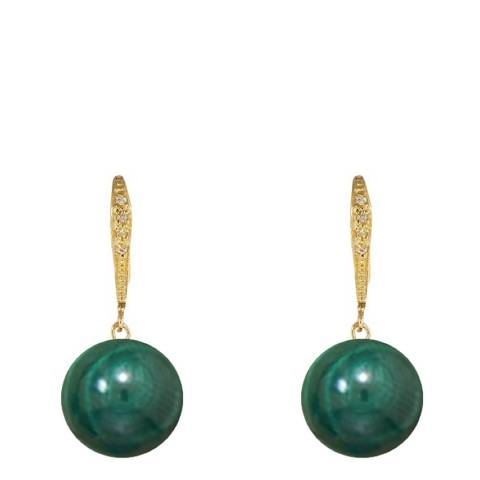 Liv Oliver 18K Gold Pave And Malachite Drop Earrings