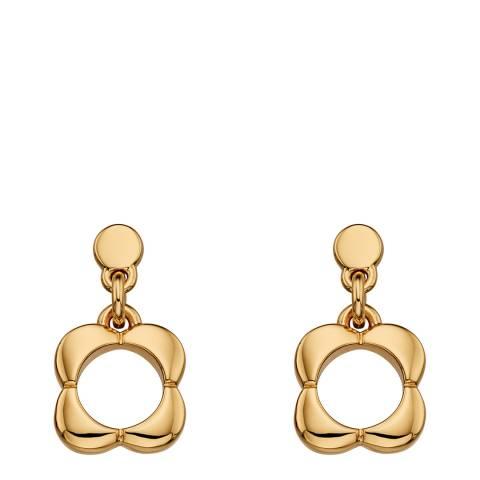 Orla Kiely Gold Plated Flower Drop Earrings