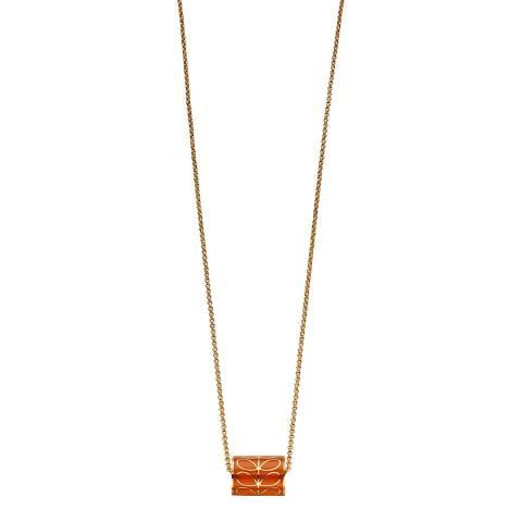 Orla Kiely Orange Gold Plated Cylinder Enamel Necklace