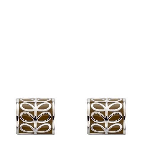 Orla Kiely Green Enamel Cylinder Stud Earrings