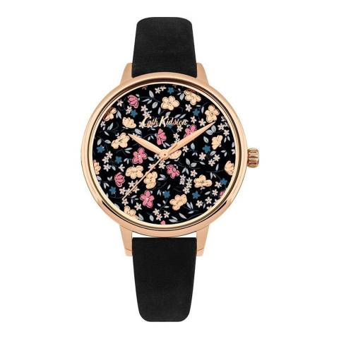 Cath Kidston Black Ditsy Floral Leather Watch
