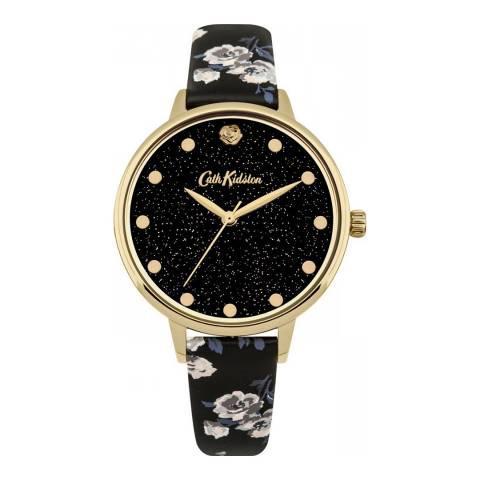 Cath Kidston Black Floral Sparkle Face Watch