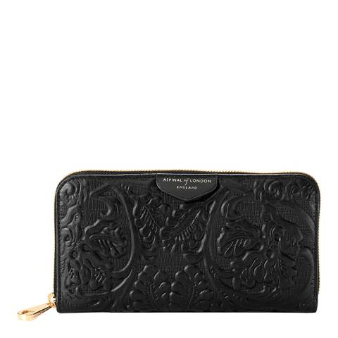 Aspinal of London Continental Clutch Purse Black Embossed Flower