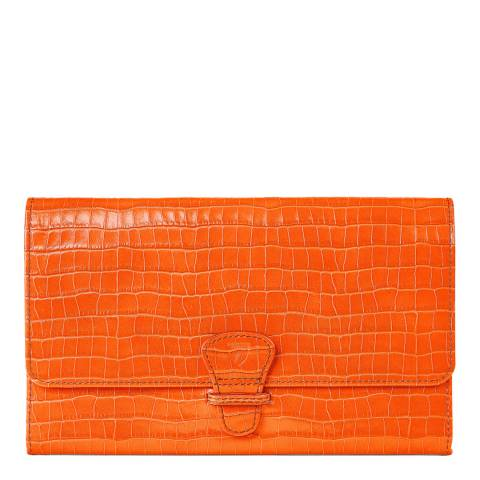 Aspinal of London Classic Travel Wallet Amber Croc Mini