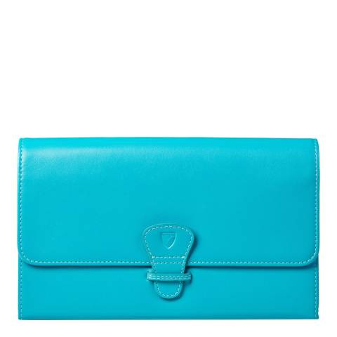 Aspinal of London Classic Travel Wallet Turquoise Smooth DRM