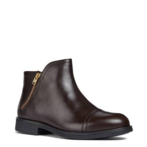 Geox Brown Leather Ankle Boots
