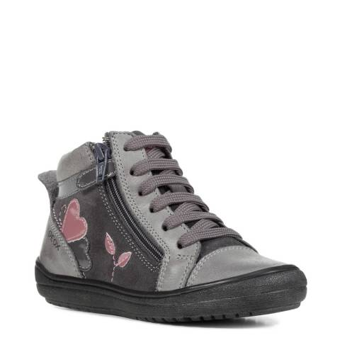 Geox Grey High Top Lace Up Trainer