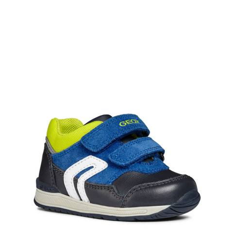 Geox Blue/Lime Suede Trainer
